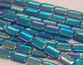 New to America: Czech Glass Laser-Etched Beads!  Shiny Skulls Iridescent Blue and Black Rectangles