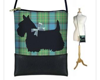 CLEARANCE Mini Cross Body Bag, Shoulder Bag Purse, Smartphone Purse fits iPhone 6 Plus, Scottie Dog, Blue Green Plaid, Scottish Terrier RTS