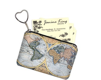 Zipper Coin Purse Keychain Fob  Business Card Case Small Zipper Pouch World Map Vintage Map Steampunk blue bridesmaid gift RTS