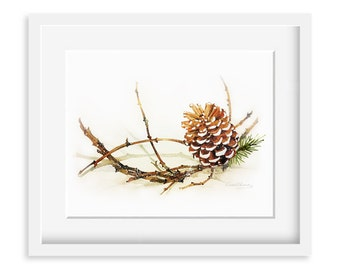 Watercolor Painting - Pine Cone with Branch Painting - 8 by 10 print - Archival Print, Holiday Decor, Nature Art