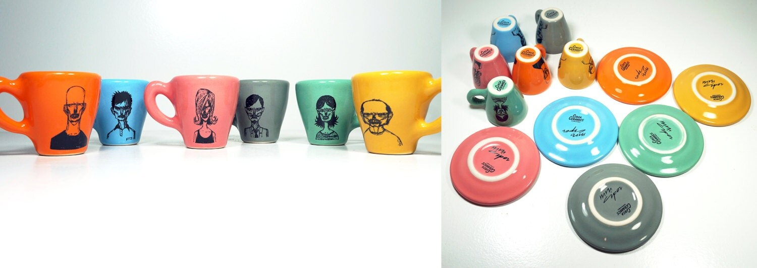 zombie horde of espresso cups with saucers, set of 6. Made to Order.