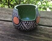moving sale Modern Carved Porcelain Owl Pot Sculpture