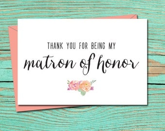 Thank You for Being My Matron Of Honor PRINTABLE CARD, Wedding Card to Matron Of Honor, Thank You Matron of Honor Card, Thank You E-Card 9