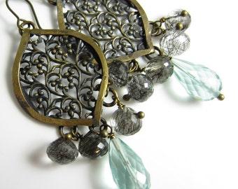 Arabesque Rain Earrings - Antiqued Brass Drops with Aqua Quartz and Black Rutilated Quartz