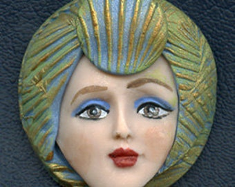 Polymer Clay OOAK   Detailed   Art Doll Face with hat Cab  ANCB 2