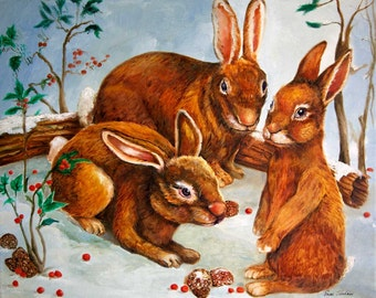 Rabbits in Snow - Winter Scene Painting - Seasonal Art Print