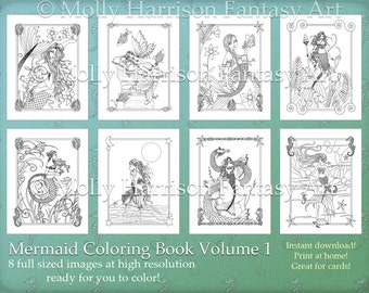 PRINTABLE Instant Download Digital - Mermaid Coloring Book Volume 1 - 8 Illustrations - Mermaids, Fantasy Art by Molly Harrison - 8.5 x 11
