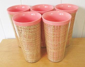 5 vintage salmon pink raffia straw weave tumblers