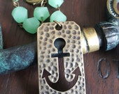 Antique Gold Anchor and Mint Glass Bead Bracelet