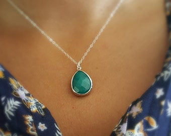 Blue Jade Sterling Silver Necklace, Stone Silver Necklace, Gift for Her, Jade Necklace