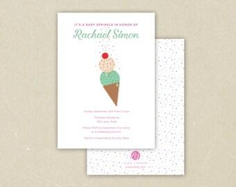 Ice Cream Baby Sprinkle Invitation Boy or Girl