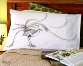 SECOND: Lyre Bird pillow case, facing right. Australian bird cotton sham, white printed pillowslip. Gift with original art by flossy-p