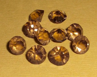 20 pcs. vintage Optima Czechoslovakia Czech machine cut crystal unfoiled smokey topaz pointed back chanton rhinestones ss29 - f1407