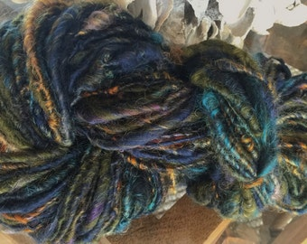 Art Yarn Handspun  Textured Bulky -NIGHT FLIGHT-  crochet, knit, weaving supplies, craft supplies, doll hair 103yds