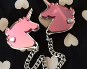 Pink and Silver Unicorn Collar Clip
