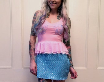 Pink and Blue Mermaid Ruffle Dress MADE TO ORDER