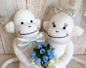 MADE-TO-ORDER Wedding Sock Monkey Doll - Wedding Dolls, White, Wedding Gift, Wedding Decor, K&K