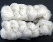 White, Undyed, Shetland Roving to Spin or Felt - 2 ounces