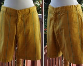 MUSTARD Plaid 1960's Vintage Men's Golden Mustard Yellow + Teal Plaid Cotton Shorts // size Medium 34 // by Golden Line