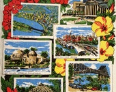 Pair of Austrailain Queensland Tourist Collectors Linen Tea Towels