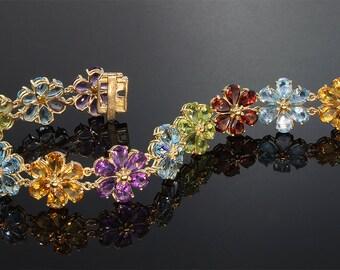 Vintage! Multi Gemstone 10K Gold Flower Bracelet