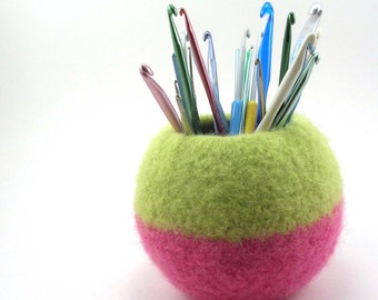 Wool felted bowl - round wool bowl - lemongrass and hot pink