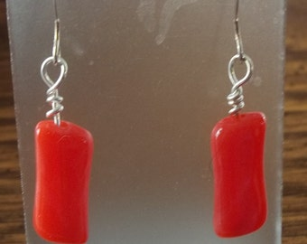 Acrylic Coral Sticks Dangle Earrings BE1394