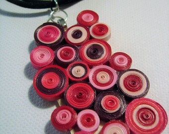 Red Circle Quilled Necklace