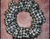 Satin Hair Scrunchie, Formal Ponytail Holder, Fall/Autumn Hair Tie, Classic Houndstooth