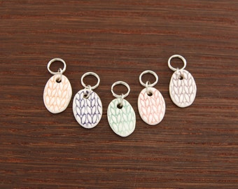 Stitchmarkers, Oval Porcelain set of 5 Candy colors