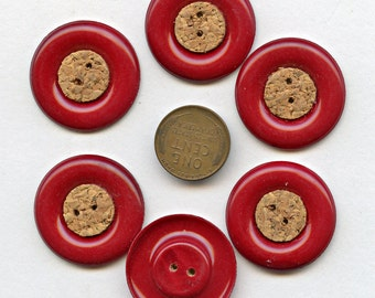 Matching Set of (6) Candy Apple RED Celluloid Buttons 1 1/8 inch size with Cork Centers New Old Stock NOS  MORE AVAlLABLE 1254