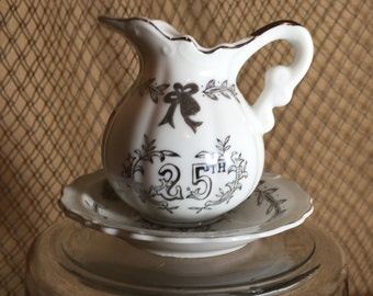 Lefton China Vintage 25th Anniversary Pitcher and Bowl Set  White and Hand Painted with Silver