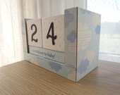 Baby Countdown Wooden Block Calendar - Sleepy Bedtime Clouds - For Boys