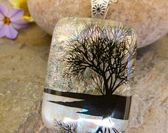 Reflection Tree Dichroic Glass Pendant, Fused Glass Jewelry, Unique Dichroic