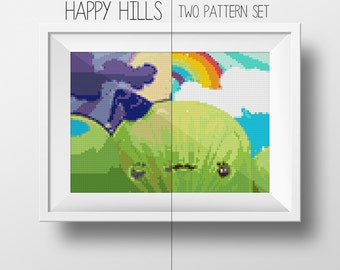 Happy Hills Day and Night Cross-Stitch Pattern Set