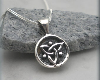 Trinity knot aromatherapy necklace triquetra necklace celtic tiny trinity knot necklace triquetra necklace irish jewelry sterling silver celtic knot mozeypictures Image collections