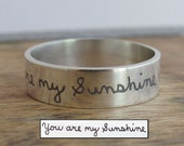 Stackable Ring Personalized Ring Custom Handwriting Jewelry Sterling Silver