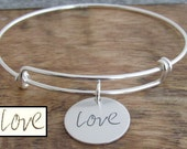 Handwriting Bangle Personalized Jewelry Solid Sterling Silver Bangle Expandable