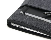 "Men's MacBook Pro Touch Bar Case, 13 inch or 15 inch, MacBook 12 inch Sleeve MacBook Air 11"" Cover - Gray Herringbone"