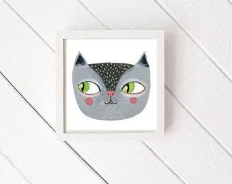 Kitty Cat gouache painting - illustration, art print, watercolor, nursery decor