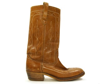 Campus Boots / Vintage 1970s Brown Leather Cowboy Boots / Women's Size 11 / Men's Size 9.5