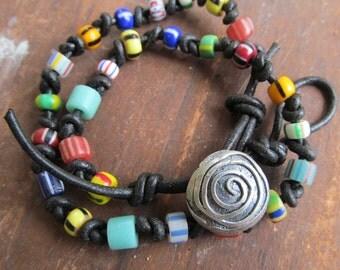 Boho Wrap BRACELET African Trade Bead Leather WRAP Bracelet BOHO Hippie Colorful Silver Leather Bracelet
