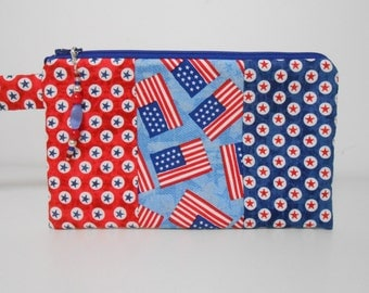 Red White and Blue Flags and Stars Wristlet with Beaded Zipper Pull