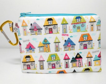 Houses Carabiner Coin Purse Snapshots Home White