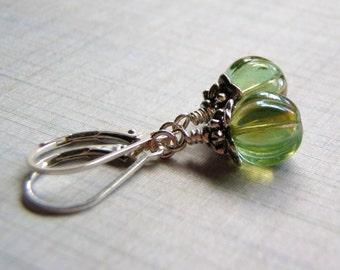 Green Earrings 8 mm Melon Glass Dangle Sterling silver Filled Lever Back Ear Wire