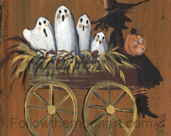 Witch in Wagon Full of Ghosts Jack O Lantern  Halloween Trick or Treat Art Print