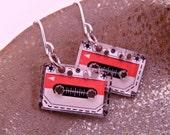 Itty Bitty Cassette Tape Pierced Earrings Geek Nerd 80s