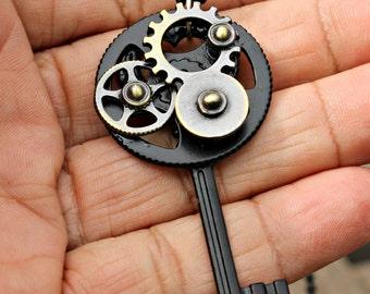 Black Skeleton Key with Watch Gears and Cogs Steampunk with 18 Inch Chain