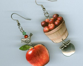 Apple earrings - bushel basket of apples  - mismatched asymmetrical  earring Designs by Annette - food jewelry gift - apple orchard jewelry