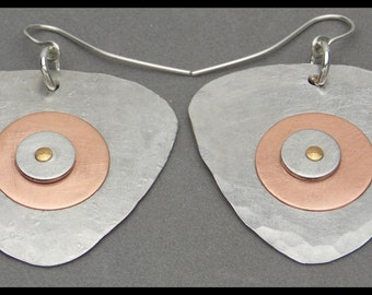 BULLSEYE - Handforged Hammered and Riveted Pewter and Copper Earrings